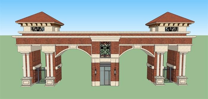 美式风格小区大门设计su模型