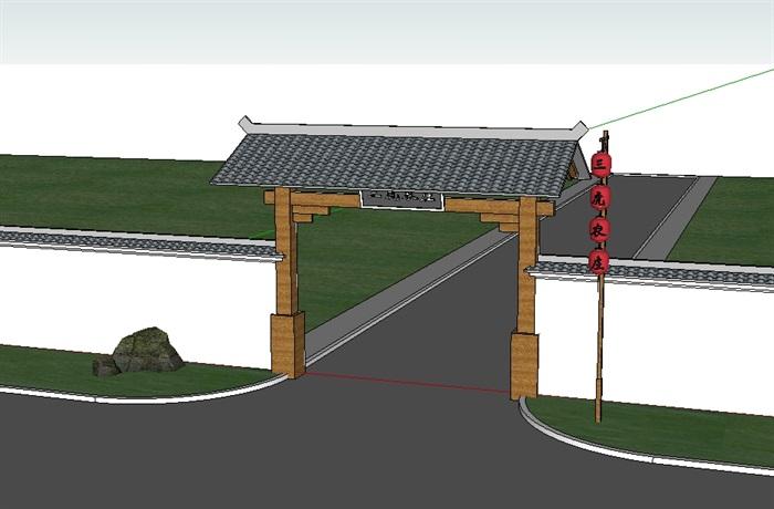 中式围墙大门详细设计su模型