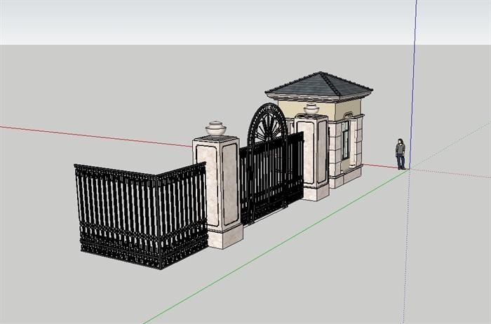 小区欧式铁艺大门设计su模型