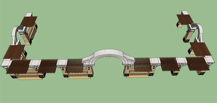 欧式风格大门廊架设计su模型