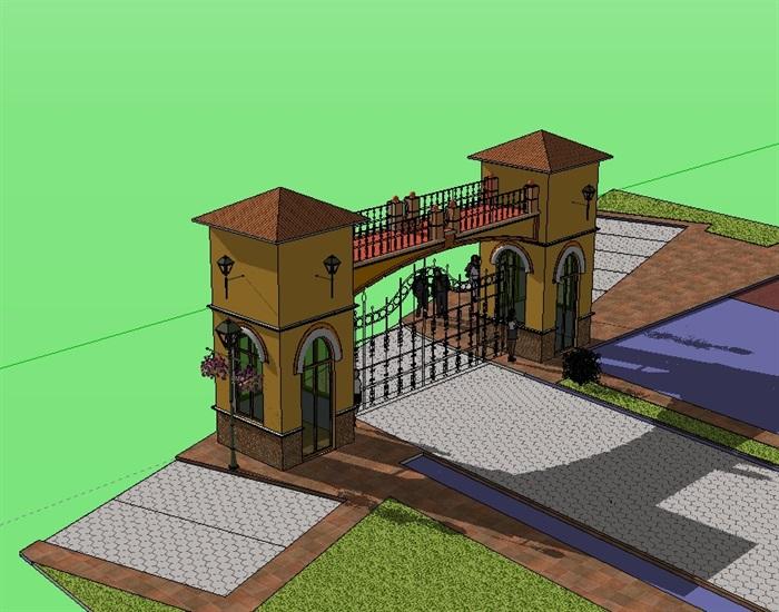 小区大门建筑设计su模型
