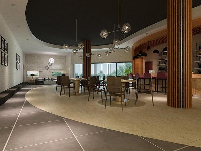 某餐飲包廂空間設計CAD施工圖、3D模型及效果圖