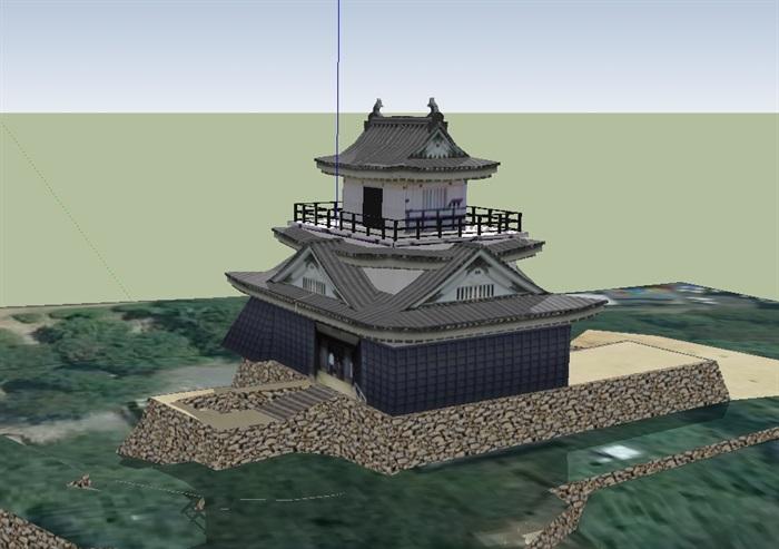 日本古建寺庙建筑设计su模型(2)