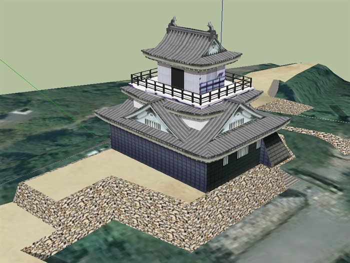 日本古建寺庙建筑设计su模型(3)