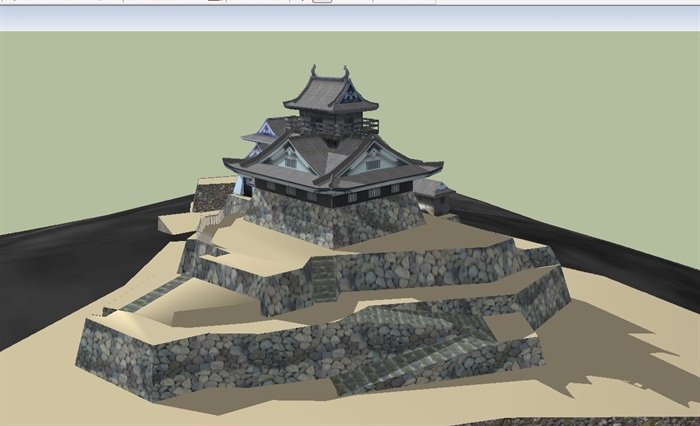 日本古建寺庙庙宇建筑su模型(2)