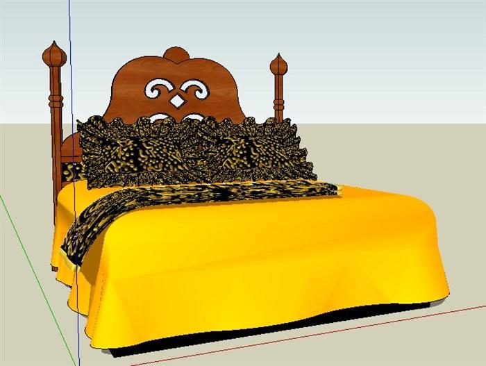 东南亚风格双人床设计su模型(2)