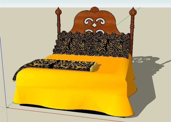 东南亚风格双人床设计su模型(3)