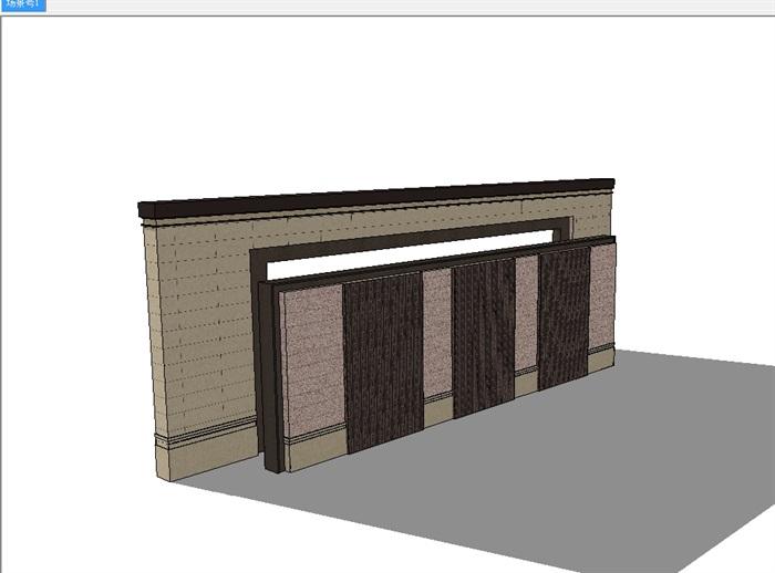 经典新中式景墙完整设计su模型