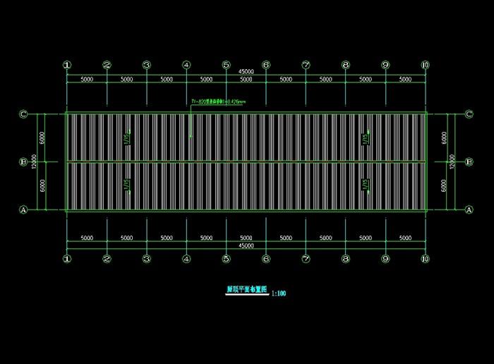 厂房图纸12x45米钢结构CAD图[下载]钢结构双层厂房原创图片