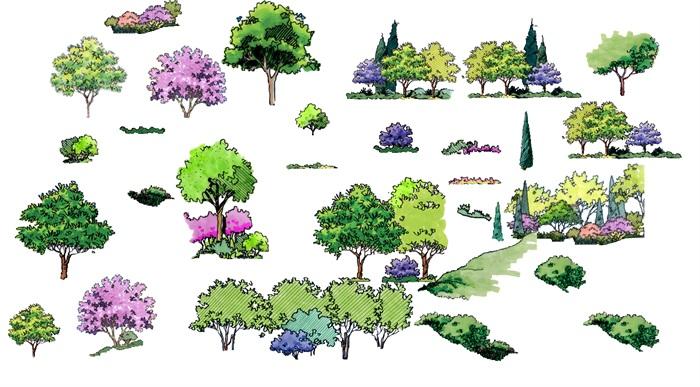 13个手绘立面景观剖面分析图精品素材psd文件集合