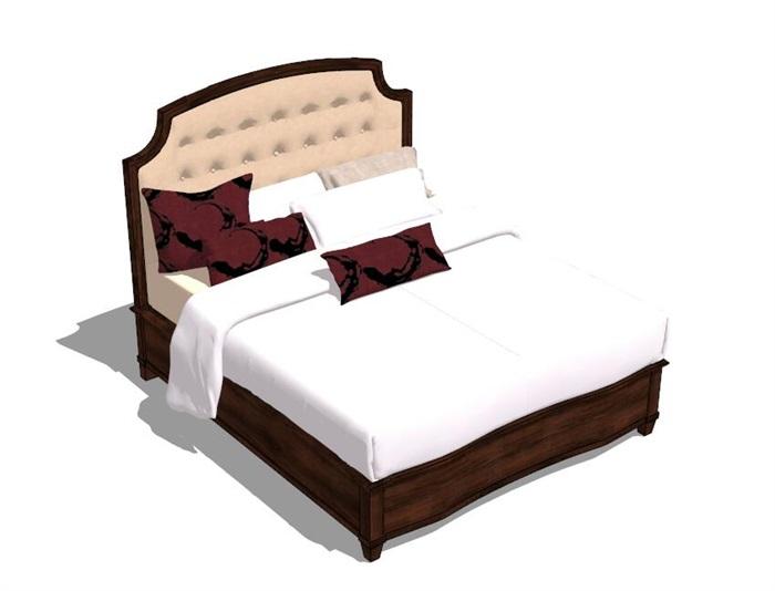 现代风格精细双人床设计su模型[原创]图片