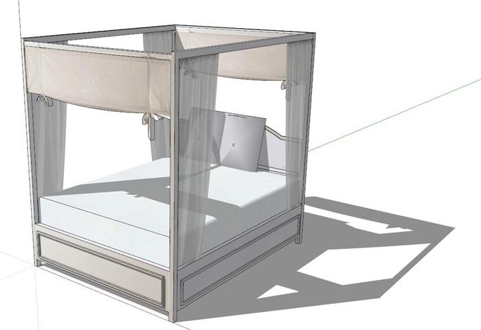 现代风格架子床设计su模型[原创]