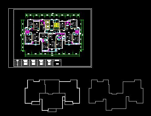 某小区一梯三全三室住宅楼设计cad户型方案[原创]
