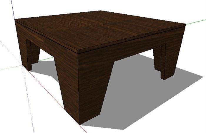 现代室内木质桌子su模型[原创]