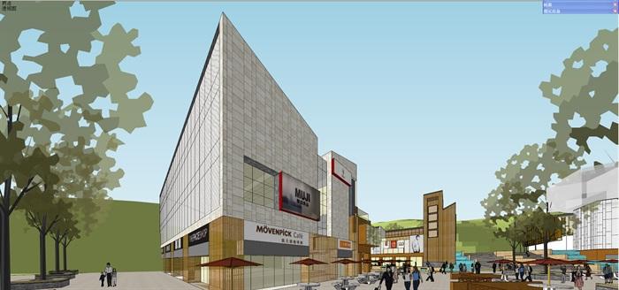 中式商业广场B1地块总体su模型
