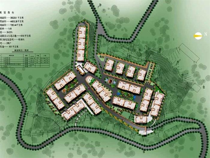 金康花园住宅规划设计cad总平面图带效果图[原创]