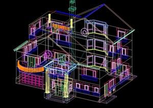 独栋多层完整三维别墅设计cad模型