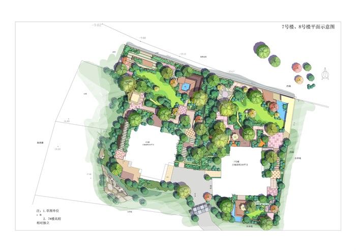 水彩清新风格别墅庭院景观设计psd平面图[原创]
