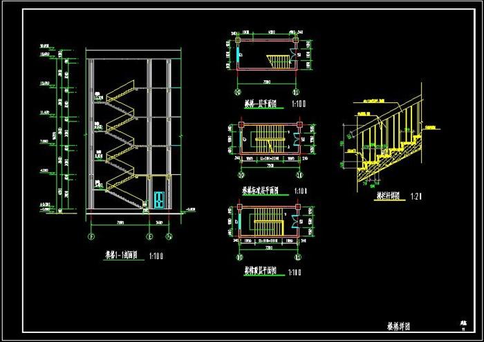 五层框架结构旅馆建筑设计cad施工图[原创]