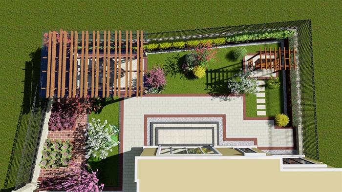 欧式庭院花园设计su模型[原创]