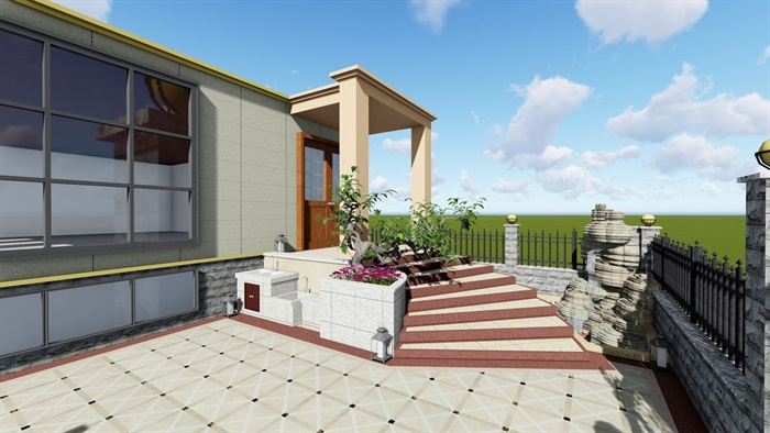 欧式花园庭院设计su模型[原创]