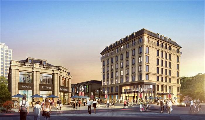 某现代商业街详细建筑设计su模型(2017版本)