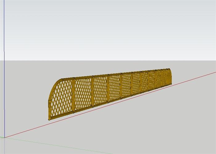 竹艺栏杆小品设计su模型[原创]