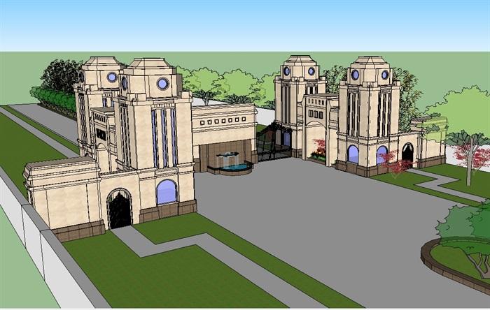 法式经典大门入口走廊su模型(1)