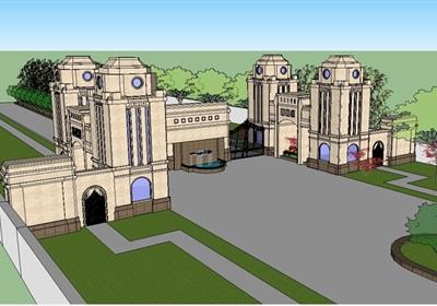 法式经典大门入口走廊su模型