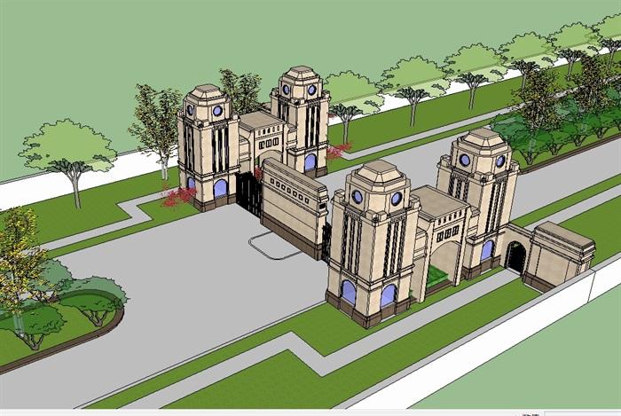 法式经典大门入口走廊su模型(2)
