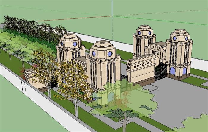 法式经典大门入口走廊su模型(3)