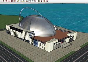 电影院建筑设计方案CAD方案图含SU(草图大师)模型JPG效果图及PSD分层图