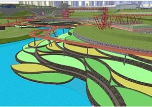 现代大型湿地体育公园景观规划方案SU(草图大师)模型
