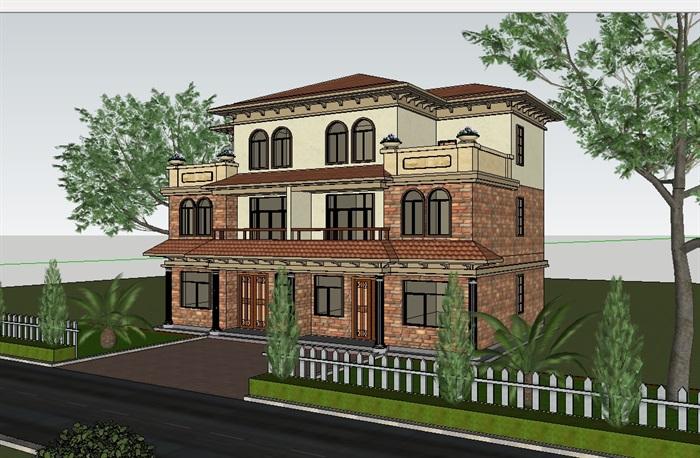 某欧式建筑别墅设计su模型及效果图[原创]