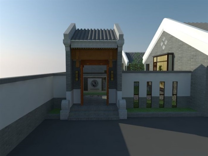 新中式四合院建筑与景观设计方案su模型[原创]