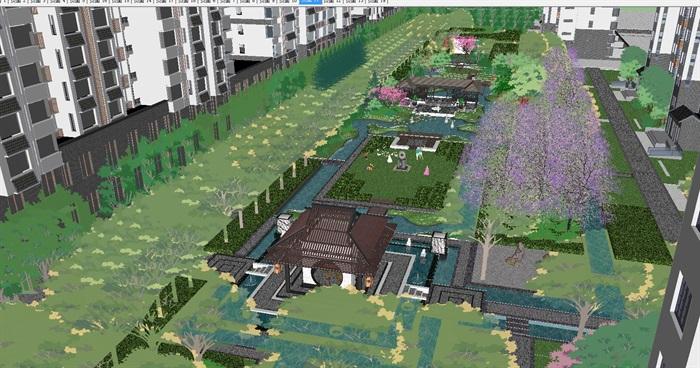 新中式住宅小区中庭景观设计方案su模型[原创]