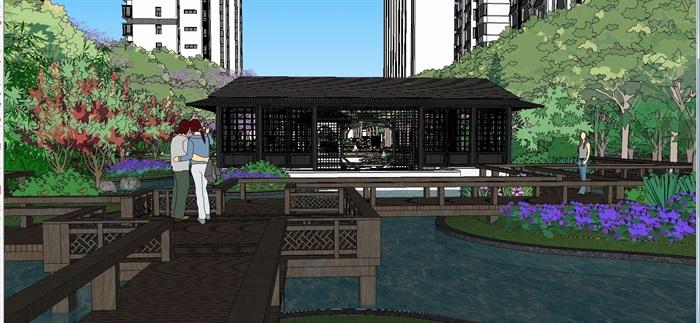 新中式住宅小区中庭景观设计主题SU模型[原创方案v中庭元旦板报图片