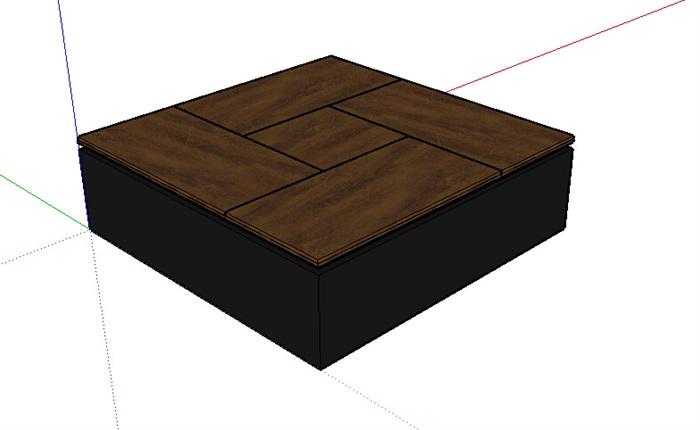 现代独特详细的木质桌子su模型[原创]