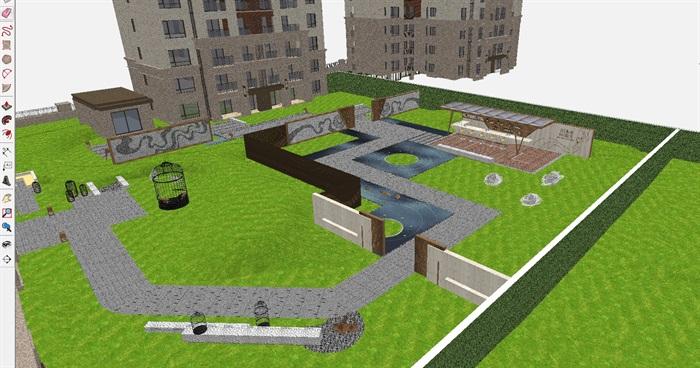 新中式小区建筑与展示区景观方案su模型[原创]