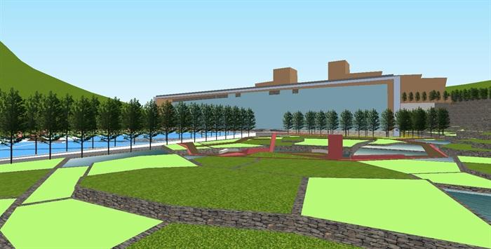 现代梯田式公园景观规划设计方案su模型[原创]