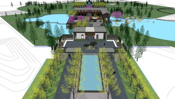 一个新中式文化公园景观设计方案su模型[原创]