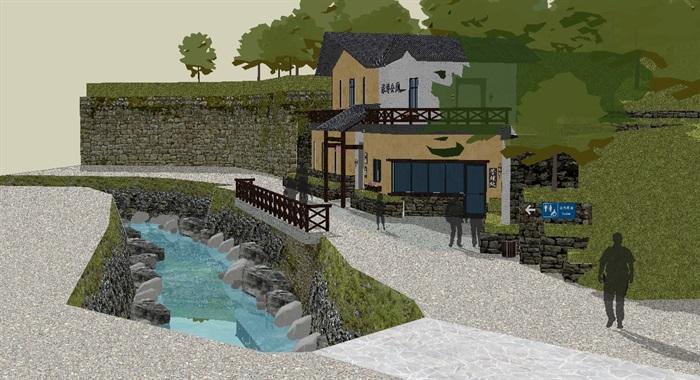 新中式两层公厕建筑设计方案su模型[原创]