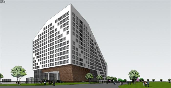 现代风格双子生态办公楼su模型[原创]