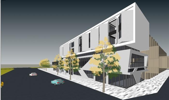 两个现代沿街办公建筑设计su模型[原创]