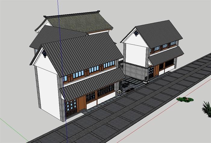中式小院落建筑设计su模型[原创]