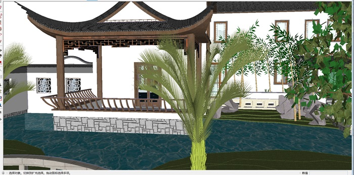 古典中式园林别墅建筑su模型[原创]图片
