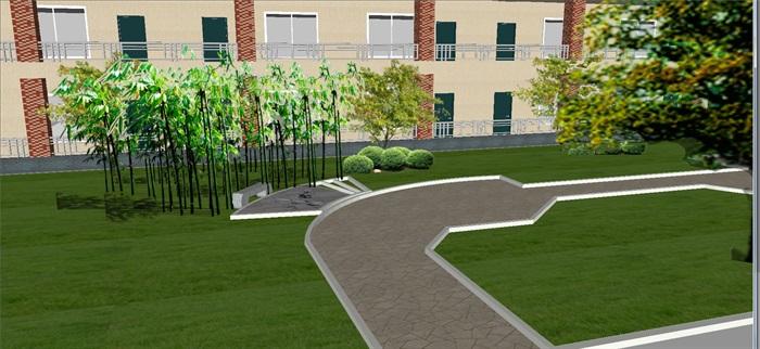 现代宿舍区室外景观方案SU模型(1)