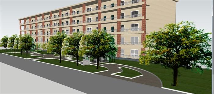 现代宿舍区室外景观方案SU模型(2)