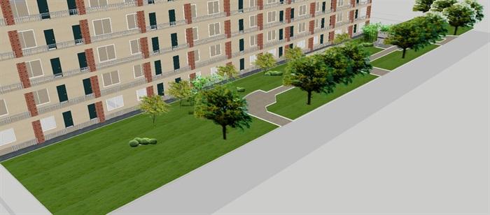 现代宿舍区室外景观方案SU模型(6)
