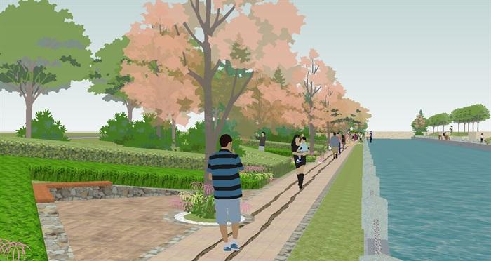 一条河道两侧滨水公园景观方案su模型[原创]